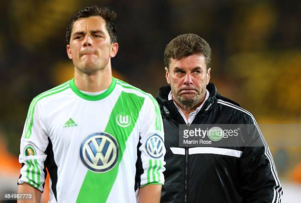 Dieter Hecking head coach of Wolfsburg looks dejected after the the DFB Cup Semi Final match between Borussia Dortmund and VfL Wolfsburg at Signal...