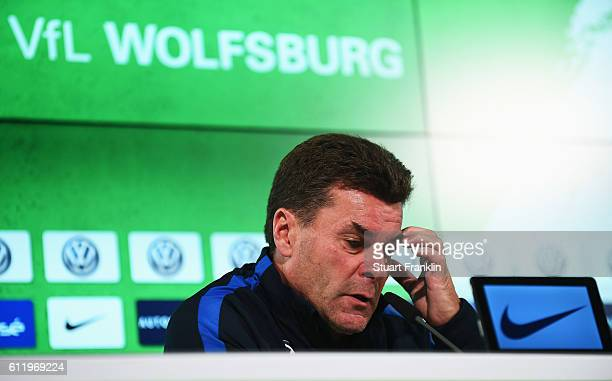Dieter Hecking head coach of Wolfsburg ponders during the press conference after the Bundesliga match between VfL Wolfsburg and 1 FSV Mainz 05 at...