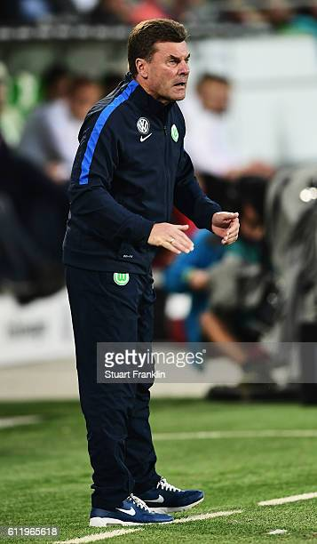 Dieter Hecking head coach of Wolfsburg reacts during the Bundesliga match between VfL Wolfsburg and 1 FSV Mainz 05 at Volkswagen Arena on October 2...