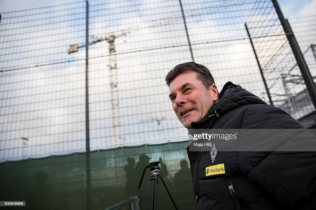 Dieter Hecking, the newly appointed head coach of Borussia Moenchengladbach arrives to a training session on January 4, 2017 in Moenchengladbach, Germany.