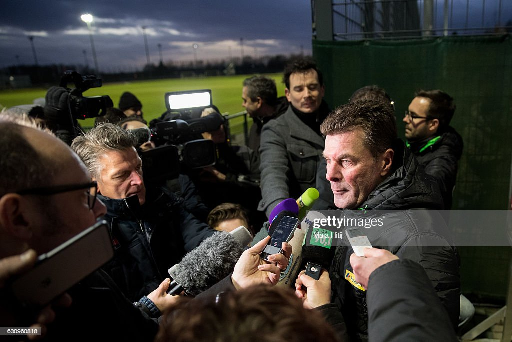 Dieter Hecking, the newly appointed head coach of Borussia Moenchengladbach gives an interview after a training session on January 4, 2017 in Moenchengladbach, Germany.
