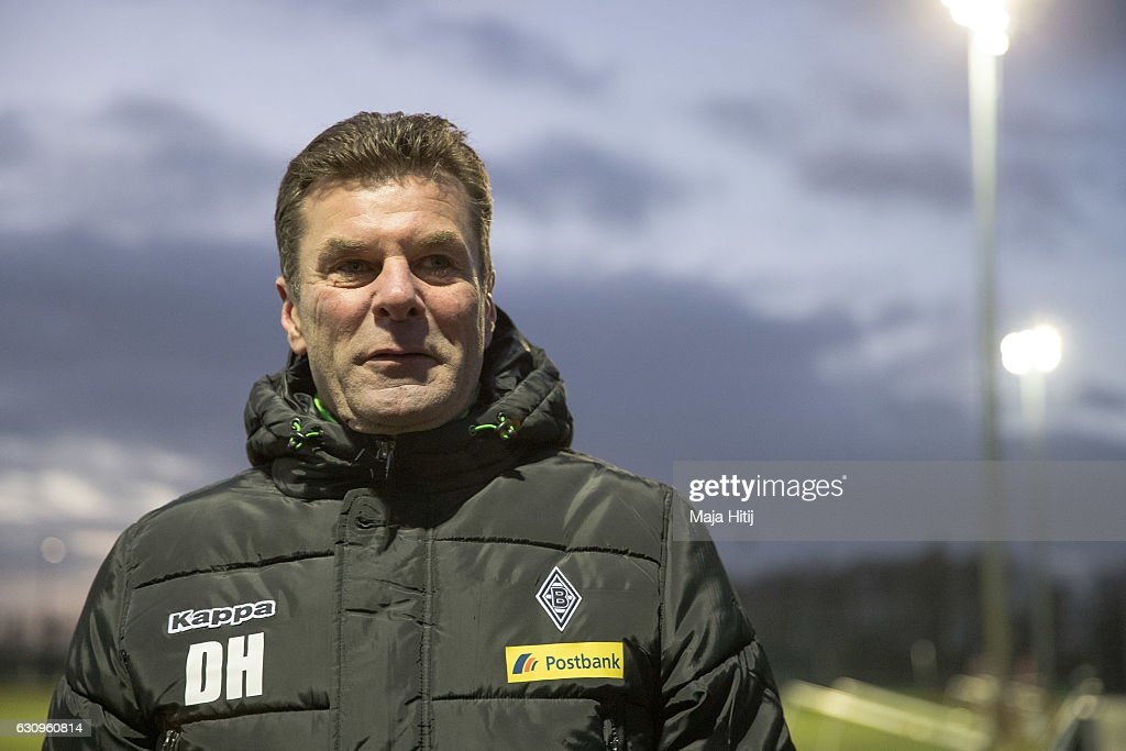 Dieter Hecking, the newly appointed head coach of Borussia Moenchengladbach leaves after a training session on January 4, 2017 in Moenchengladbach, Germany.