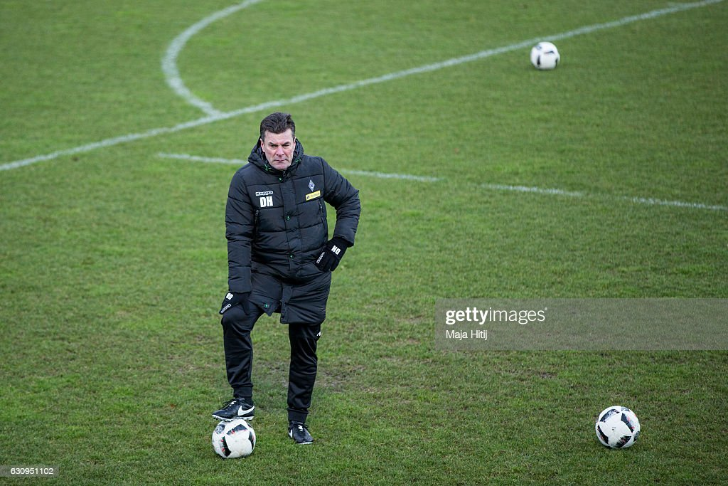 Dieter Hecking, the newly appointed head coach of Borussia Moenchengladbach looks on during a training session on January 4, 2017 in Moenchengladbach, Germany.