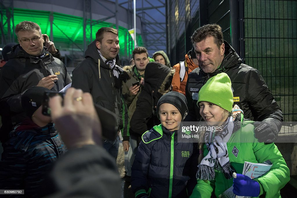 Dieter Hecking, the newly appointed head coach of Borussia Moenchengladbach poses with fans after a training session on January 4, 2017 in Moenchengladbach, Germany.