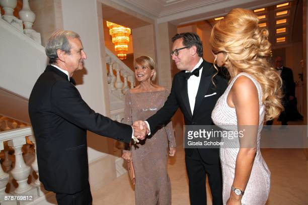 Dieter Hermann Uschi Glas and Robert Poelzer Editor in chief of Bunte and his wife Vivian Poelzer during the 66th 'Bundespresseball' at Hotel Adlon...