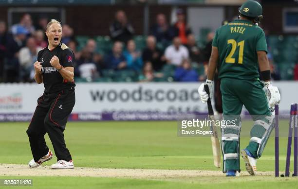 Dieter Klein of Leicestershire celebrates after bowling Samit Patel first ball during the NatWest T20 Blast match between Leicestershire Foxes and...