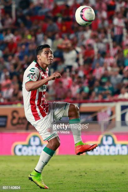 Dieter Villalpando of Necaxa looks the ball during the 4th round match between Necaxa and Leon as part of the Torneo Apertura 2017 Liga MX at...