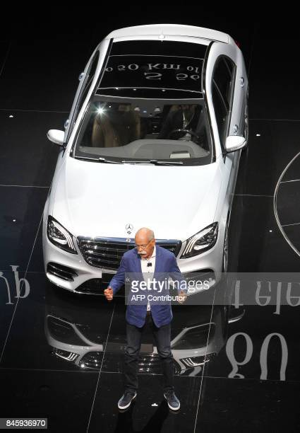Dieter Zetsche CEO of Daimler presents A Mercedes S 560 E at the Frankfurt Motor Show IAA in Frankfurt am Main western Germany on September 12 2017...