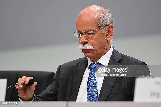 Dieter Zetsche CEO of Daimler speaks to the media to announces financial results for the company for 2013 on February 6 2014 in Stuttgart Germany...