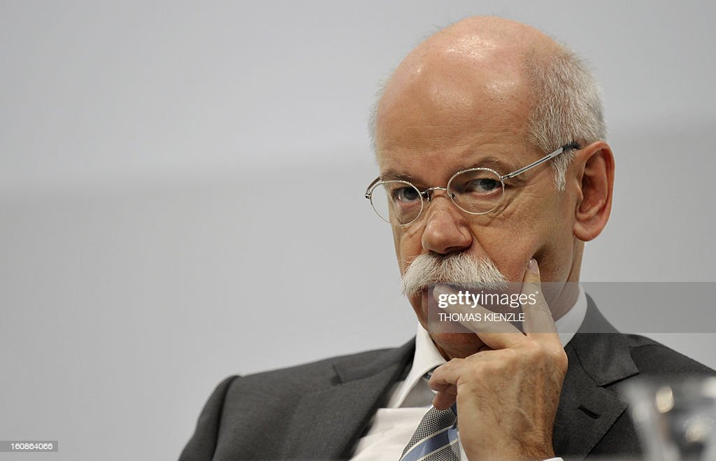 Dieter Zetsche, CEO of German auto giant Daimler, reacts during the company's annual press conference in Stuttgart, southwestern Germany, on February 7, 2013. German automaker Daimler said Thursday that its net profit rose by 8,0 percent to 6,495 billion euros ($8,8 billion) in 2012 on the back of record unit sales and revenues.