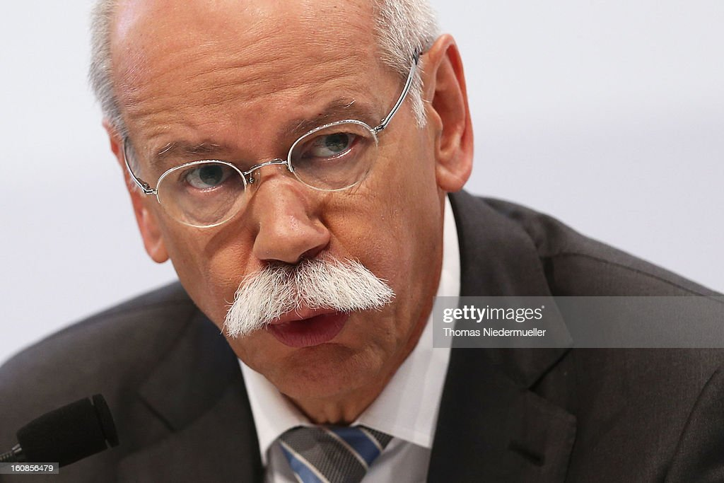 <a gi-track='captionPersonalityLinkClicked' href=/galleries/search?phrase=Dieter+Zetsche&family=editorial&specificpeople=241297 ng-click='$event.stopPropagation()'>Dieter Zetsche</a>, CEO of German carmaker Daimler AG, speaks to the media to announce the company's financial performance in 2012 during the Daimler AG, annual press conference on February 7, 2013 in Stuttgart, Germany. Daimler, which manufactures Mercedes-Benz luxury cars, finished in 2012 with its highest business volume of 114.3 Billion Euro since ending its merger with Chrysler in 2007. The group announced a EBIT from ongoing business of 8.6 Billion Euro.