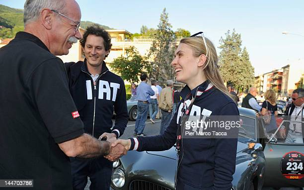 Dieter Zetsche Chairman of Daimler AG and Head of MercedesBenz John Elkann and his wife Lavinia Borromeo attend the 2012 Mille Miglia on May 17 2012...