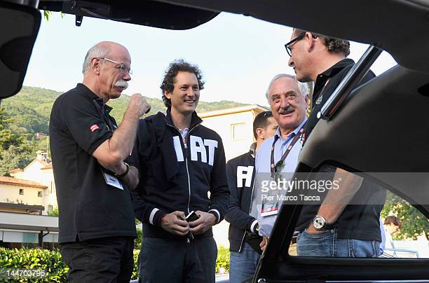 Dieter Zetsche Chairman of Daimler AG and Head of MercedesBenz John Elkann Alberto Bombassei and Kai Diekmann attend the 2012 Mille Miglia on May 17...