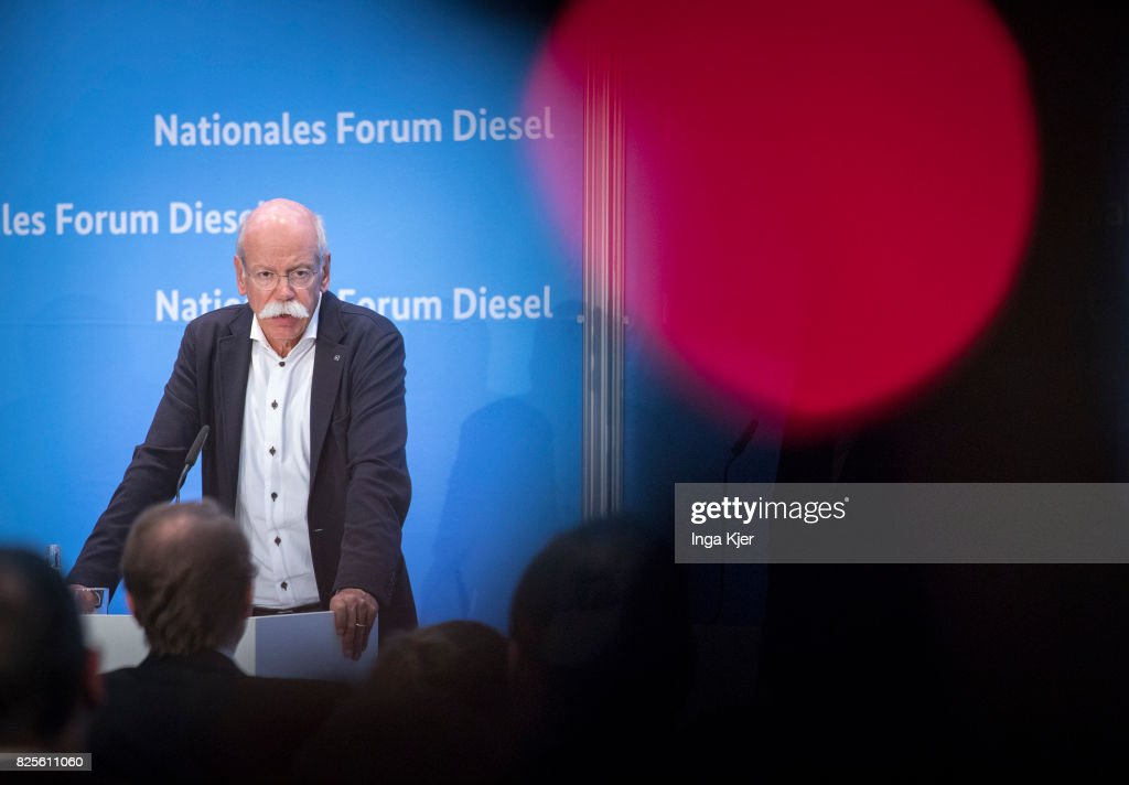 Dieter Zetsche, chairman of German car maker Daimler AG and head of Mercedes-Benz cars speaks at press conference in the course of the Diesel Summit on August 02, 2017 in Berlin, Germany. Representatives of the automobile industry and federal politics meet to find solutions in reducing the pollutant emissions of diesel vehicles.
