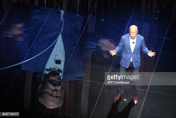 Dieter Zetsche chairman of German car maker Daimler AG and head of MercedesBenz cars delivers his speech during a preview night for the media on the...