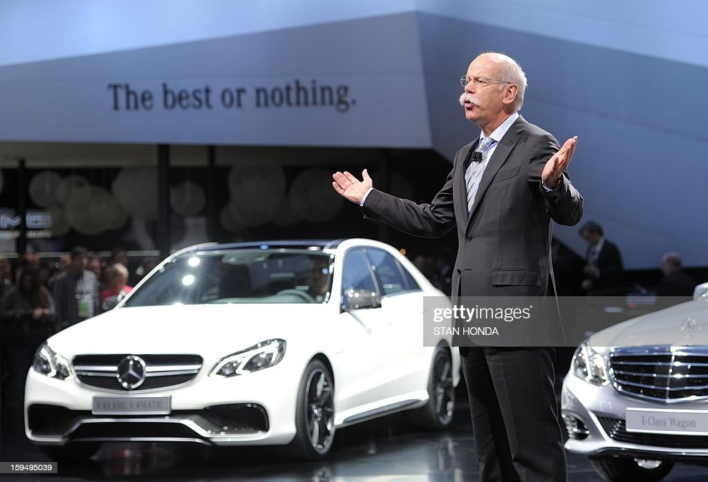 Dieter Zetsche, chairman of Mercedes-Benz Cars, introduces the E-class AMG S 4Matic and the E-class Wagon at the 2013 North American International Auto Show in Detroit, Michigan, January 14, 2013. AFP PHOTO/Stan HONDA