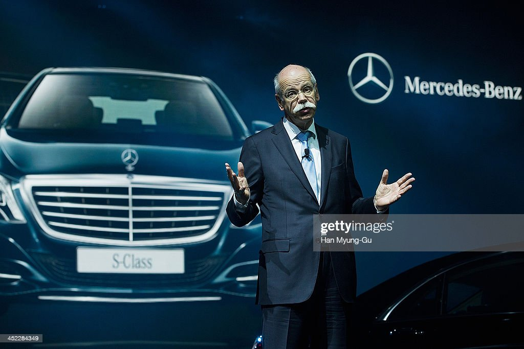 <a gi-track='captionPersonalityLinkClicked' href=/galleries/search?phrase=Dieter+Zetsche&family=editorial&specificpeople=241297 ng-click='$event.stopPropagation()'>Dieter Zetsche</a>, chief executive officer of Daimler AG, gestures as he speaks during the launch event of Mercedes-Benz New S-Class on November 27, 2013 in Seoul, South Korea.