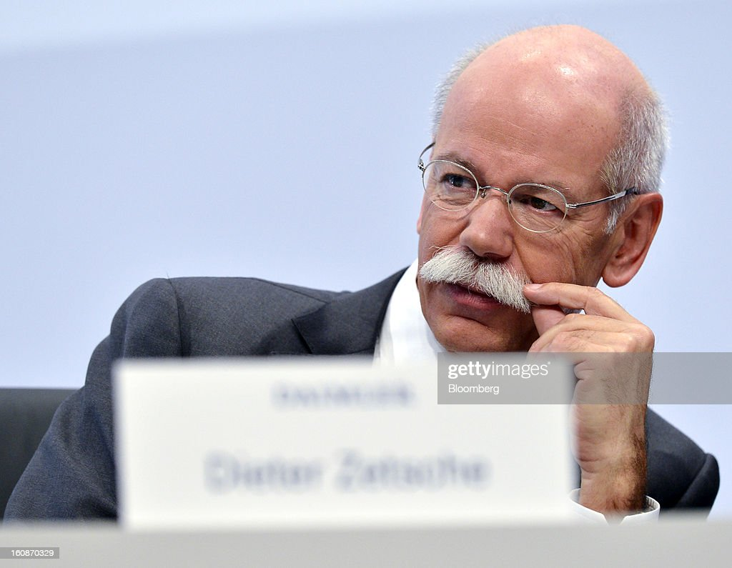 Dieter Zetsche, chief executive officer of Daimler AG, listens during a news conference to announce the company's results in Stuttgart, Germany, on Thursday, Feb. 7, 2013. Daimler AG, the world's third-largest maker of luxury vehicles, forecast unchanged 2013 profit as spending for new models and a revamp of the automaker's operations eat into earnings. Photographer: Guenter Schiffmann/Bloomberg via Getty Images
