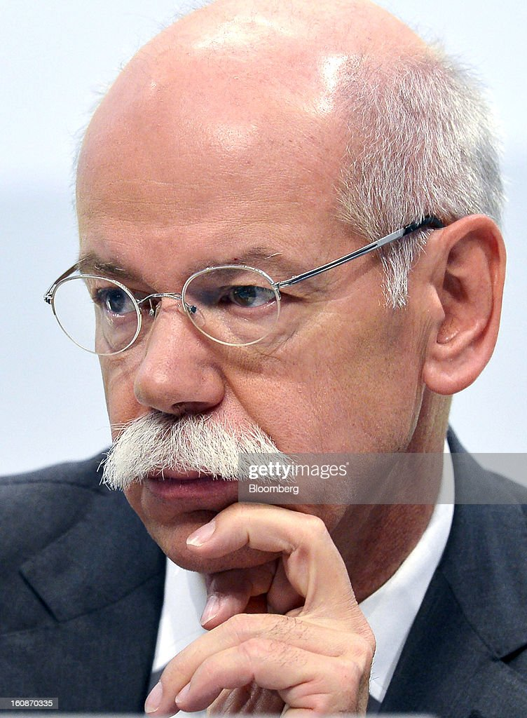 <a gi-track='captionPersonalityLinkClicked' href=/galleries/search?phrase=Dieter+Zetsche&family=editorial&specificpeople=241297 ng-click='$event.stopPropagation()'>Dieter Zetsche</a>, chief executive officer of Daimler AG, listens during a news conference to announce the company's results in Stuttgart, Germany, on Thursday, Feb. 7, 2013. Daimler AG, the world's third-largest maker of luxury vehicles, forecast unchanged 2013 profit as spending for new models and a revamp of the automaker's operations eat into earnings. Photographer: Guenter Schiffmann/Bloomberg via Getty Images