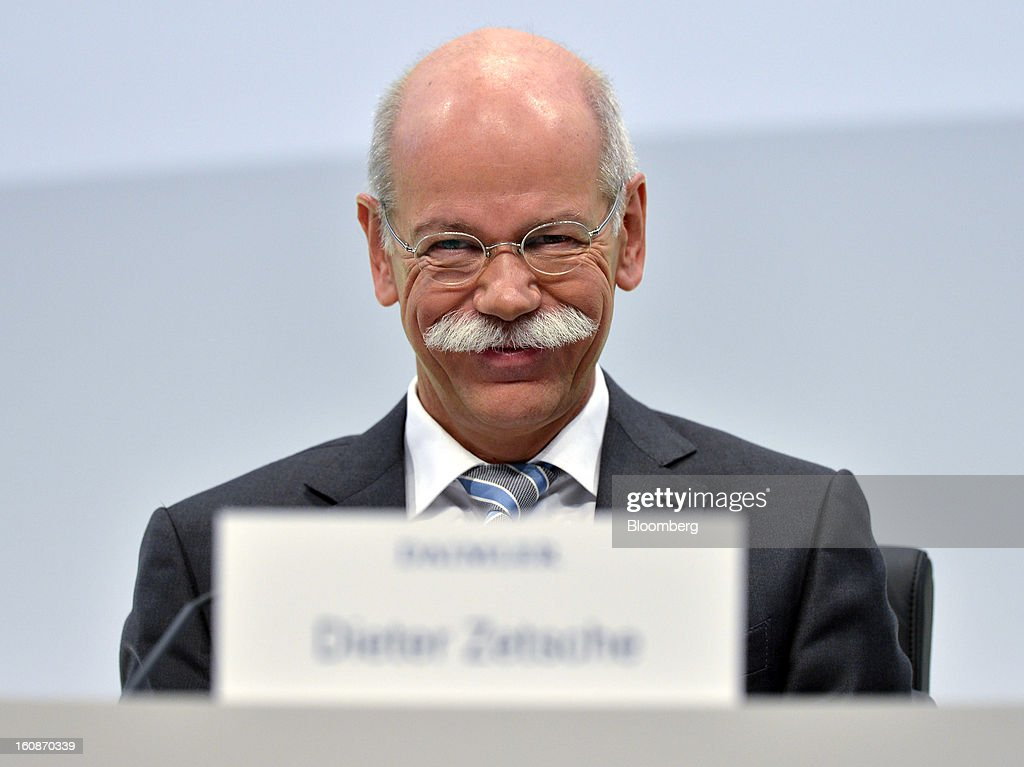 <a gi-track='captionPersonalityLinkClicked' href=/galleries/search?phrase=Dieter+Zetsche&family=editorial&specificpeople=241297 ng-click='$event.stopPropagation()'>Dieter Zetsche</a>, chief executive officer of Daimler AG, reacts during a news conference to announce the company's results in Stuttgart, Germany, on Thursday, Feb. 7, 2013. Daimler AG, the world's third-largest maker of luxury vehicles, forecast unchanged 2013 profit as spending for new models and a revamp of the automaker's operations eat into earnings. Photographer: Guenter Schiffmann/Bloomberg via Getty Images
