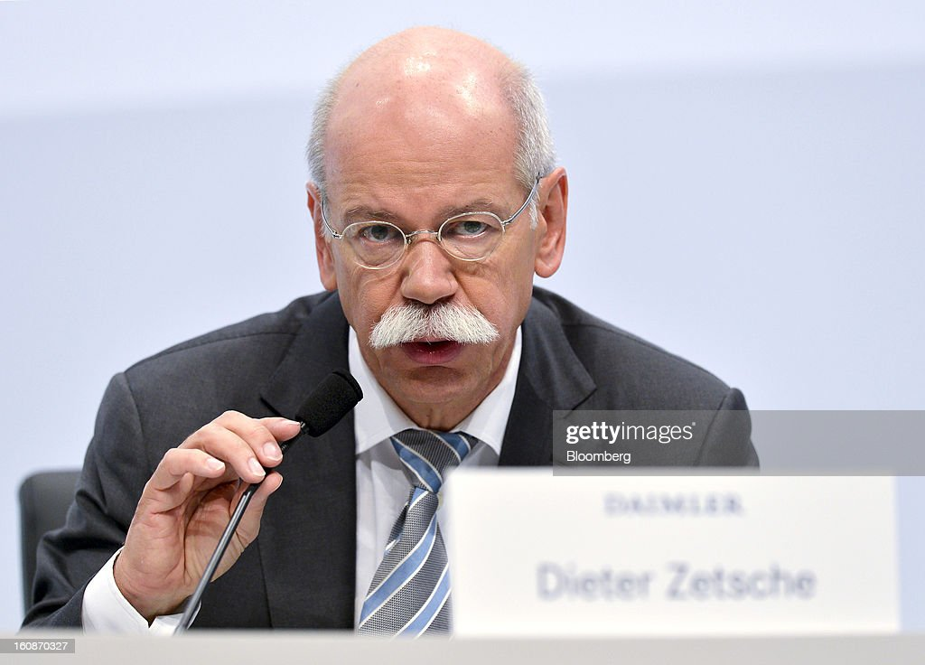<a gi-track='captionPersonalityLinkClicked' href=/galleries/search?phrase=Dieter+Zetsche&family=editorial&specificpeople=241297 ng-click='$event.stopPropagation()'>Dieter Zetsche</a>, chief executive officer of Daimler AG, speaks during a news conference to announce the company's results in Stuttgart, Germany, on Thursday, Feb. 7, 2013. Daimler AG, the world's third-largest maker of luxury vehicles, forecast unchanged 2013 profit as spending for new models and a revamp of the automaker's operations eat into earnings. Photographer: Guenter Schiffmann/Bloomberg via Getty Images