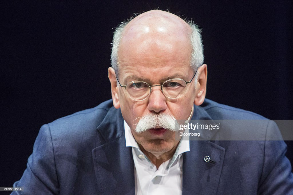 Dieter Zetsche, chief executive officer of Daimler AG, speaks during a panel discussion at the CAR Symposium in Bochum, Germany, on Thursday, Feb. 11, 2016. General Motors Co.'s German brand Opel will introduce its first fully electric car next year as part of a 29-model lineup overhaul, putting pressure on Volkswagen AG as it reels from the diesel-emissions scandal. Photographer: Martin Leissl/Bloomberg via Getty Images