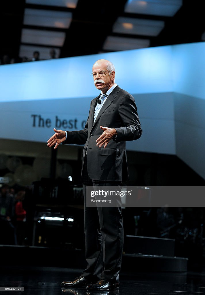 """Dieter Zetsche, chief executive officer of Daimler AG, speaks during the 2013 North American International Auto Show (NAIAS) in Detroit, Michigan, U.S., on Monday, Jan. 14, 2013. Zetsche said the European car market will probably """"slightly decline"""" in the first half of the year. Photographer: Daniel Acker/Bloomberg via Getty Images"""