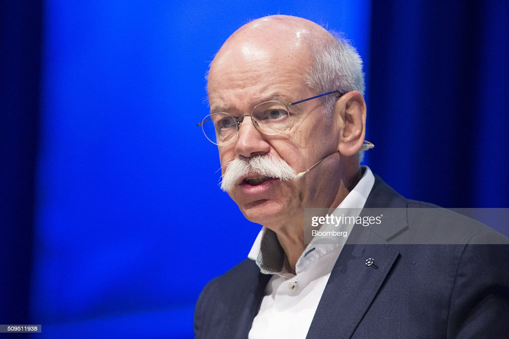 Dieter Zetsche, chief executive officer of Daimler AG, speaks during the CAR Symposium in Bochum, Germany, on Thursday, Feb. 11, 2016. General Motors Co.'s German brand Opel will introduce its first fully electric car next year as part of a 29-model lineup overhaul, putting pressure on Volkswagen AG as it reels from the diesel-emissions scandal. Photographer: Martin Leissl/Bloomberg via Getty Images