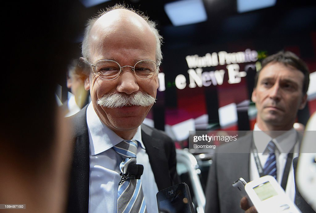"""Dieter Zetsche, chief executive officer of Daimler AG, speaks to the press during the 2013 North American International Auto Show (NAIAS) in Detroit, Michigan, U.S., on Monday, Jan. 14, 2013. Zetsche said the European car market will probably """"slightly decline"""" in the first half of the year. Photographer: Daniel Acker/Bloomberg via Getty Images"""