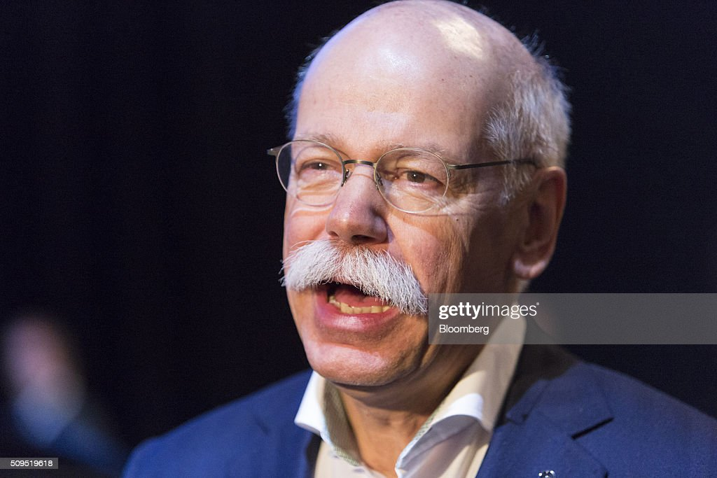 Dieter Zetsche, chief executive officer of Daimler AG, speaks to reporters during the CAR Symposium in Bochum, Germany, on Thursday, Feb. 11, 2016. General Motors Co.'s German brand Opel will introduce its first fully electric car next year as part of a 29-model lineup overhaul, putting pressure on Volkswagen AG as it reels from the diesel-emissions scandal. Photographer: Martin Leissl/Bloomberg via Getty Images