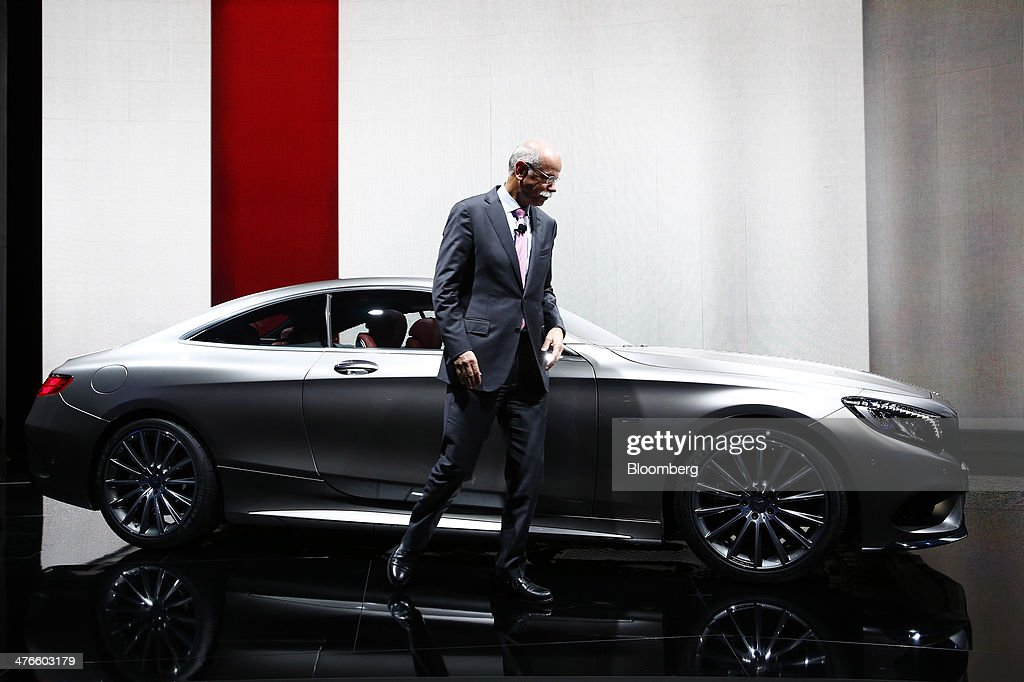 <a gi-track='captionPersonalityLinkClicked' href=/galleries/search?phrase=Dieter+Zetsche&family=editorial&specificpeople=241297 ng-click='$event.stopPropagation()'>Dieter Zetsche</a>, chief executive officer of Daimler AG, stands beside a Mercedes-Benz S-Class coupe automobile during its world premiere ahead of the opening day of the 84th Geneva International Motor Show in Geneva, Switzerland, on Monday, March 3, 2014. The International Geneva Motor Show will run from Mar. 4, and showcase the latest models from the world's top automakers. Photographer: Gianluca Colla/Bloomberg via Getty Images