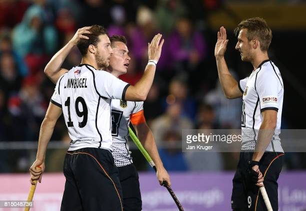 DieterEnrique Linnekogel of Germany celebrates his goal during day 4 of the FIH Hockey World League Men's Semi Finals Pool B match between Belgium...