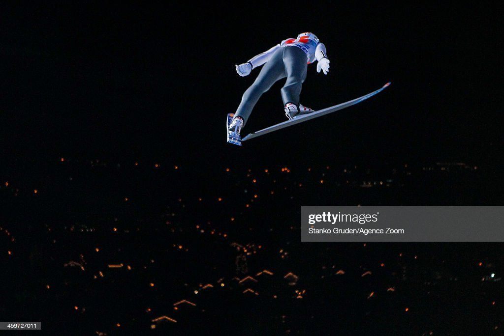 Diethart Thomas of Austria takes 3rd place during the FIS Ski Jumping World Cup Vierschanzentournee (Four Hills Tournament) on December 29, 2013 in Oberstdorf, Germany.