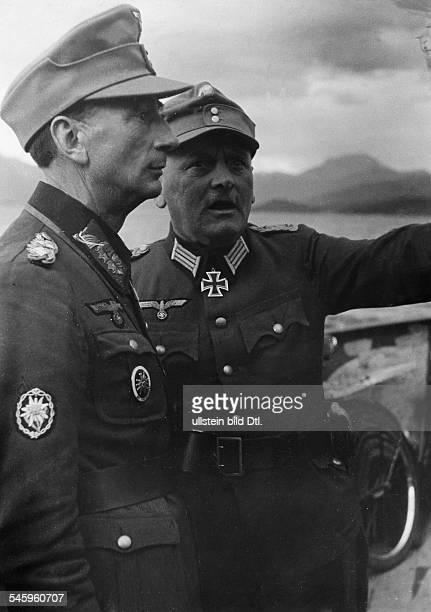 Dietl Eduard 21071890Offizier DKommandeur 20Gebirgsarmee General Dietl im Gespräch mit Oberst Windisch über den Kampf um NarvikNarvik Herbst 1940