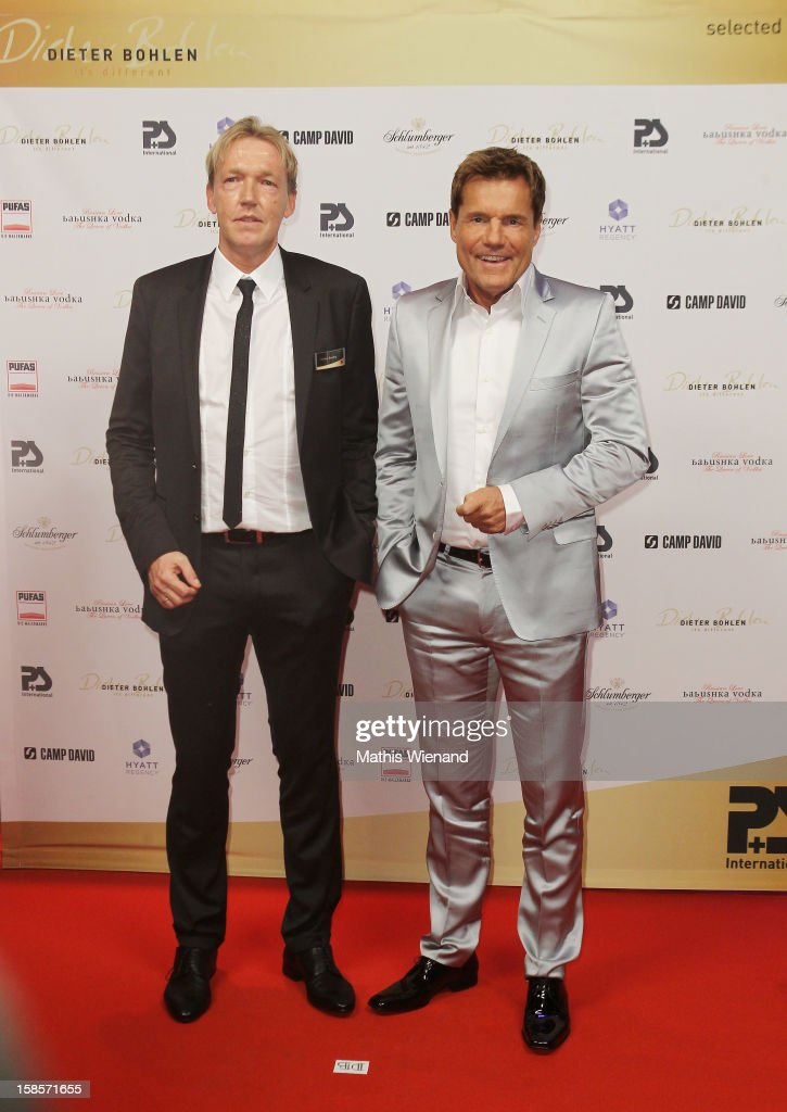 Dietmar Everding (CEO P&S) and <a gi-track='captionPersonalityLinkClicked' href=/galleries/search?phrase=Dieter+Bohlen&family=editorial&specificpeople=801168 ng-click='$event.stopPropagation()'>Dieter Bohlen</a> attend the <a gi-track='captionPersonalityLinkClicked' href=/galleries/search?phrase=Dieter+Bohlen&family=editorial&specificpeople=801168 ng-click='$event.stopPropagation()'>Dieter Bohlen</a> Wallpaper Collection presentation of P&S International at Balloni Halls on December 19, 2012 in Cologne, Germany.