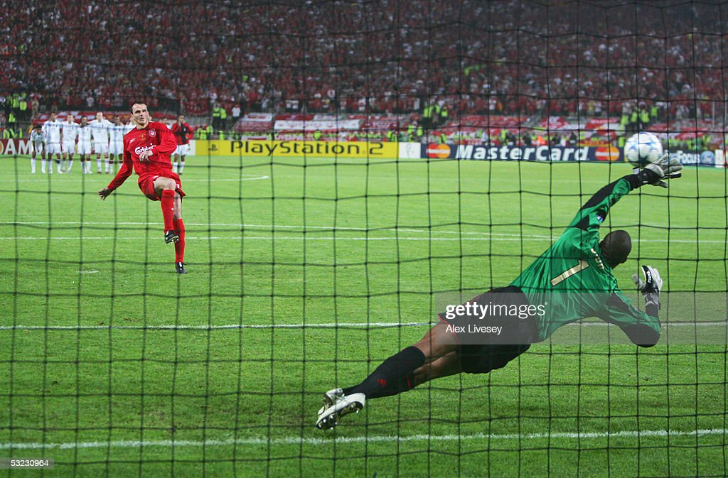 Dietmar Hamann of Liverpool scores his penalty in the shoot out during the European Champions League final between Liverpool and AC Milan on May 25, 2005 at the Ataturk Olympic Stadium in Istanbul, Turkey.