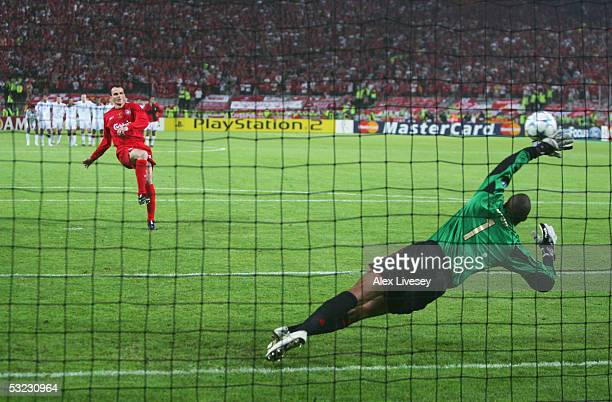 Dietmar Hamann of Liverpool scores his penalty in the shoot out during the European Champions League final between Liverpool and AC Milan on May 25...