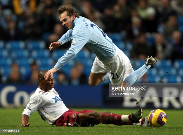 Dietmar Hamann of Manchester City vies with Louis Boa Morte of West Ham United during the Premier league football match at The City of Manchester...