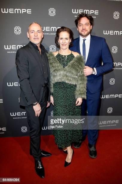 Dietmar Schuelein KimEva Wempe and german actor Ronald Zehrfeld attend the Wempe store opening on February 23 2017 in Munich Germany