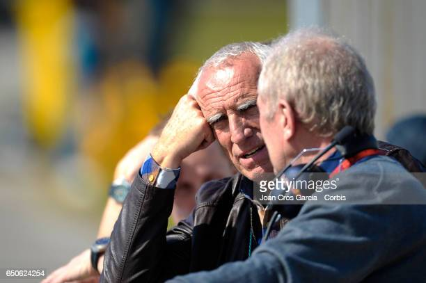 Dietrich Mateschitz CEO of Red Bull speaking with Helmut Marko of Red Bull Racing Team during the Formula One preseason tests on May 9 2017 in...