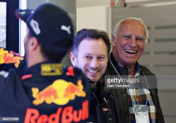 Dietrich Mateschitz Red Bull owner Red Bull Racing Team Principal Christian Horner and Daniel Ricciardo of Australia and Red Bull Racing talk in the...