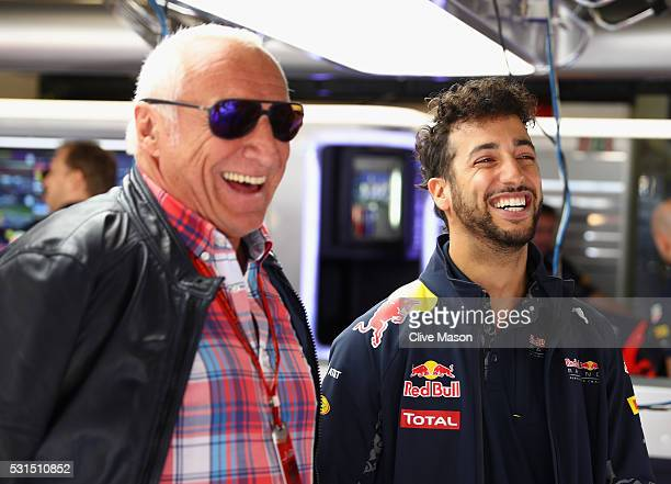 Dietrich Mateschitz Red Bull owner talks with Daniel Ricciardo of Australia and Red Bull Racing in the garage ahead of the Spanish Formula One Grand...