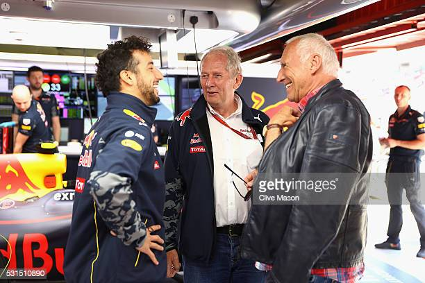 Dietrich Mateschitz Red Bull owner with Red Bull Racing Team Consultant Dr Helmut Marko and Daniel Ricciardo of Australia and Red Bull Racing in the...