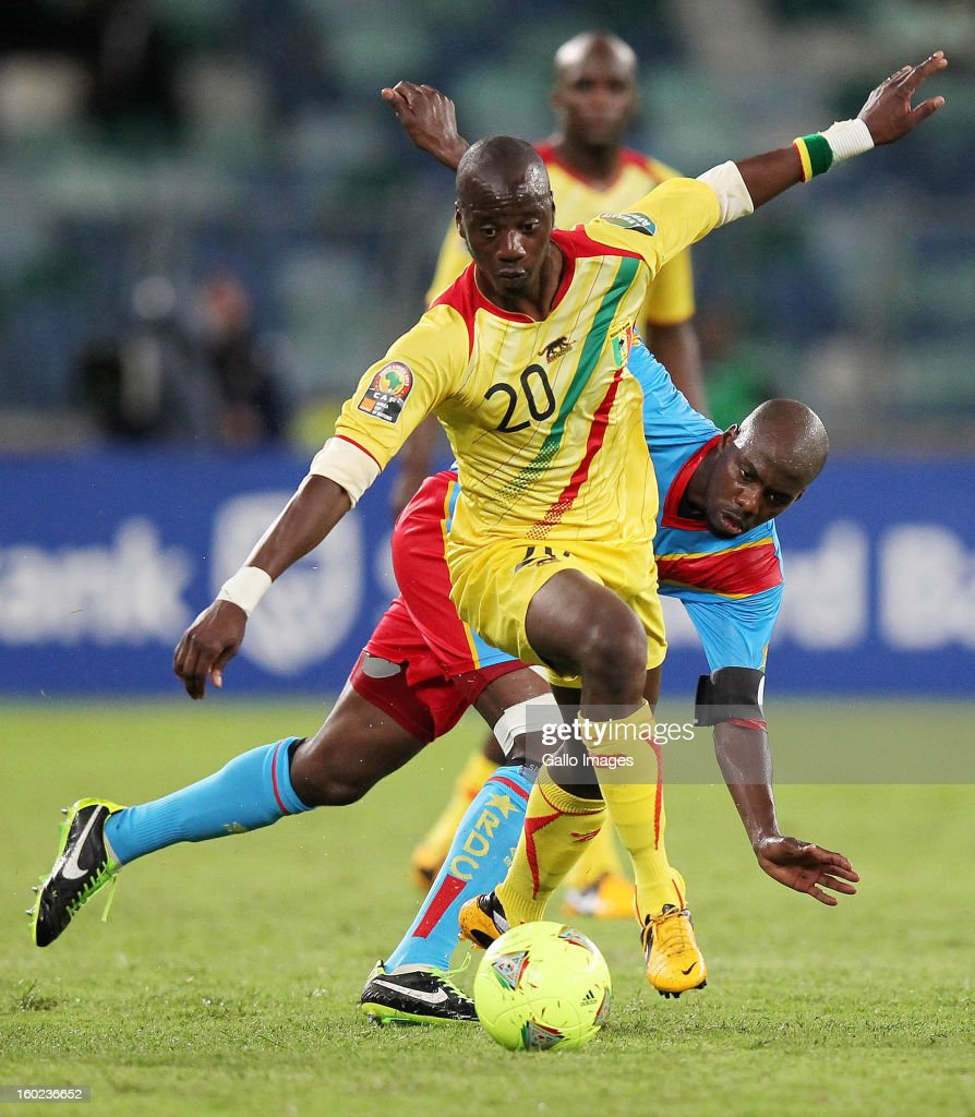 AFRICA - JANUARY 28, Dieudonne Mbokani Bezua of DR Congo and Samba Diakite of Mali in action during the 2013 Orange African Cup of Nations match between DR Congo and Mali from Moses Mabhida Stadium on January 28, 2013 in Durban, South Africa.