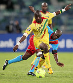 AFRICA JANUARY 28 Dieudonne Mbokani Bezua of DR Congo and Samba Diakite of Mali in action during the 2013 Orange African Cup of Nations match between...