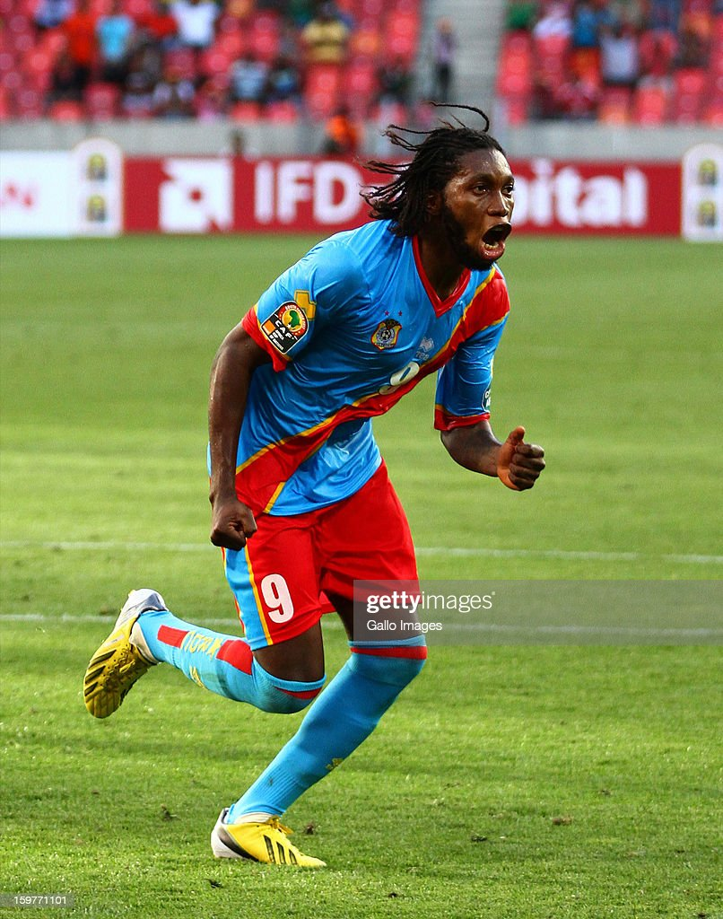Dieudonne Mbokani Bezua of DR Congo celebrates after scoring a goal during the 2013 African Cup of Nations match between Ghana and Congo DR at Nelson Mandela Bay Stadium on January 20, 2013 in Port Elizabeth, South Africa.