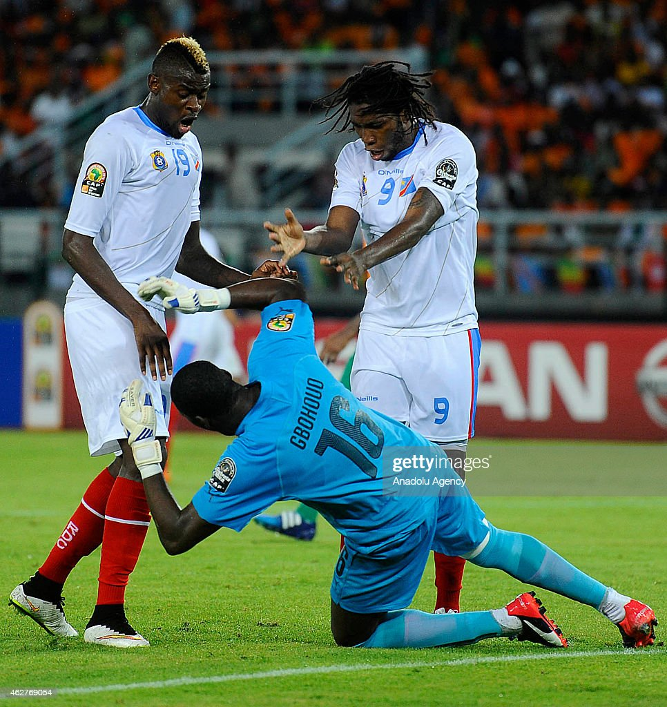 <a gi-track='captionPersonalityLinkClicked' href=/galleries/search?phrase=Dieumerci+Mbokani&family=editorial&specificpeople=4528520 ng-click='$event.stopPropagation()'>Dieumerci Mbokani</a> (9) and Jeremy Bokila (19) of Congo react to Ivory Coast's goalkeeper <a gi-track='captionPersonalityLinkClicked' href=/galleries/search?phrase=Sylvain+Gbohouo&family=editorial&specificpeople=12875939 ng-click='$event.stopPropagation()'>Sylvain Gbohouo</a> (16) during the 2015 African Cup of Nations semi-final football match between Democratic Republic of the Congo and Ivory Coast at the Bata Stadium on February 04, 2015 in Bata, Equatorial Guinea.