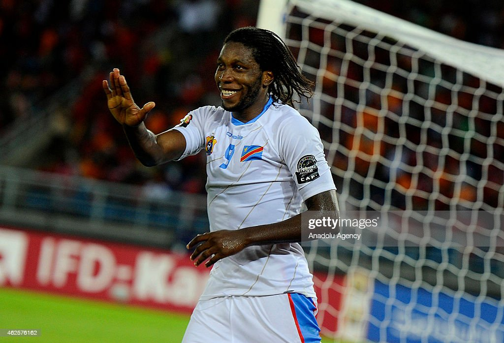 Dieumerci Mbokani of Democratic Republic of the Congo celebrates after scoring a goal during 2015 African Cup of Nations quarter final football match...