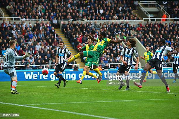 Dieumerci Mbokani of Norwich City beats goalkeeper Robert Elliot of Newcastle United to score their first and equalising goal during the Barclays...