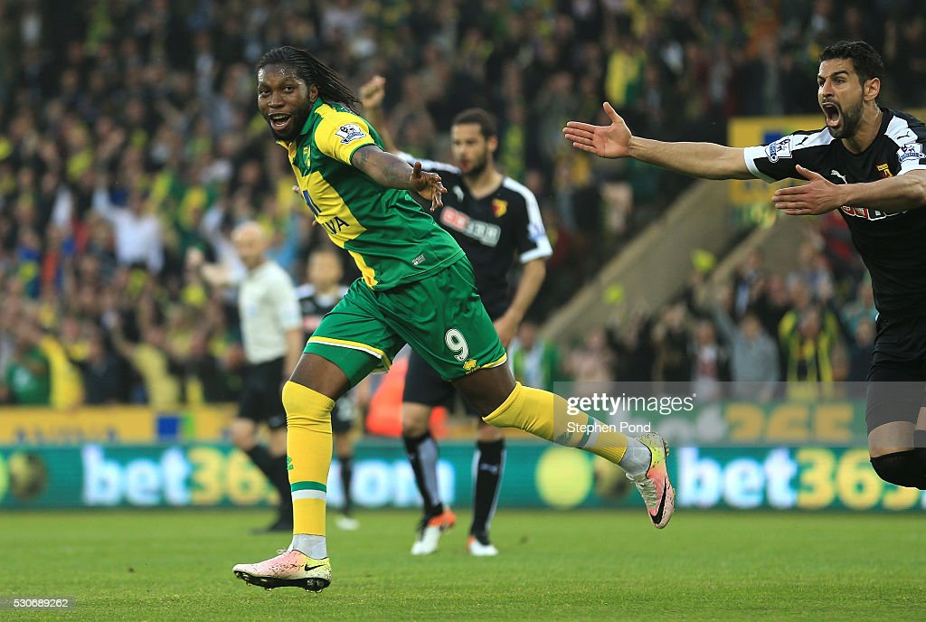 <a gi-track='captionPersonalityLinkClicked' href=/galleries/search?phrase=Dieumerci+Mbokani&family=editorial&specificpeople=4528520 ng-click='$event.stopPropagation()'>Dieumerci Mbokani</a> of Norwich City celebrates scoring his team's second goal during the Barclays Premier League match between Norwich City and Watford at Carrow Road on May 11, 2016 in Norwich, England.